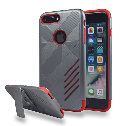 Avant Guard Case with Holster Combo for Samsung Galaxy S8 Plus - Titanium-Red