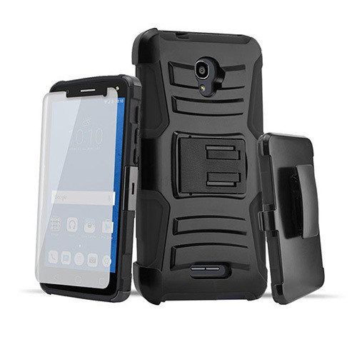 Rugged hybrid case with kickstand and holster combo forAlcatel Walters black-black