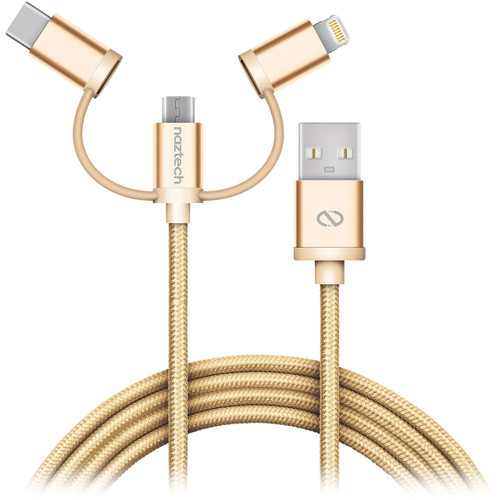 Nazech 3 in 1 to USB Braided cable Gold