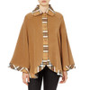 Tartan Trim Cape, Camel Thomson