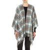 Cashmere Ruana Cape, Muted Blue Stewart