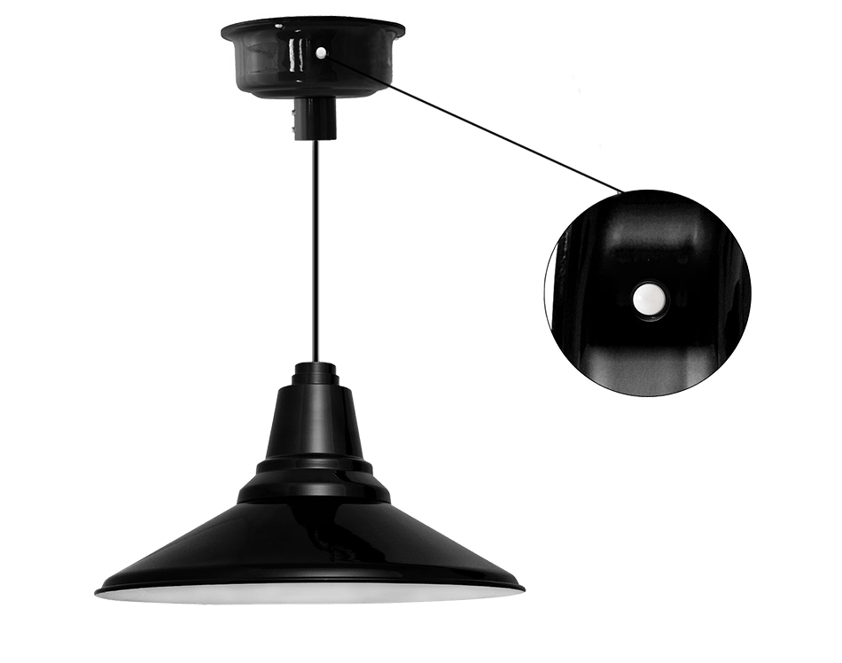 Motion sensored barn pendant light