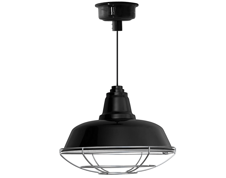 Goodyear barn pendant with cage in black