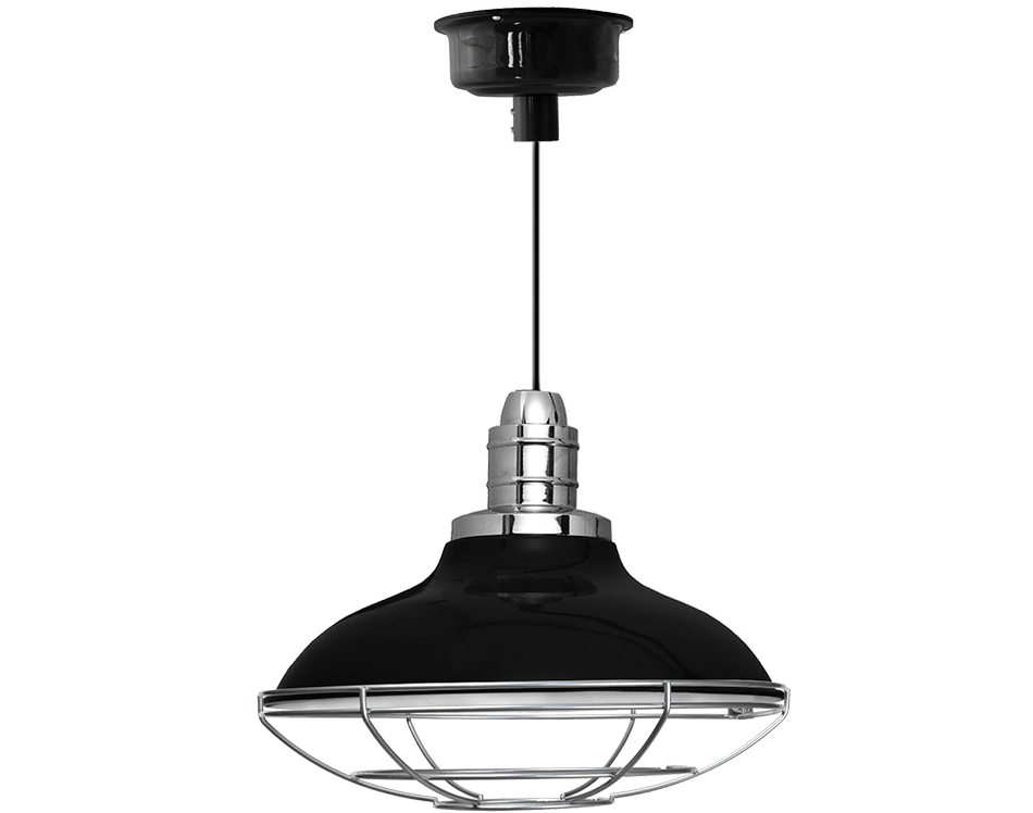 Peony pendant light with cage in black
