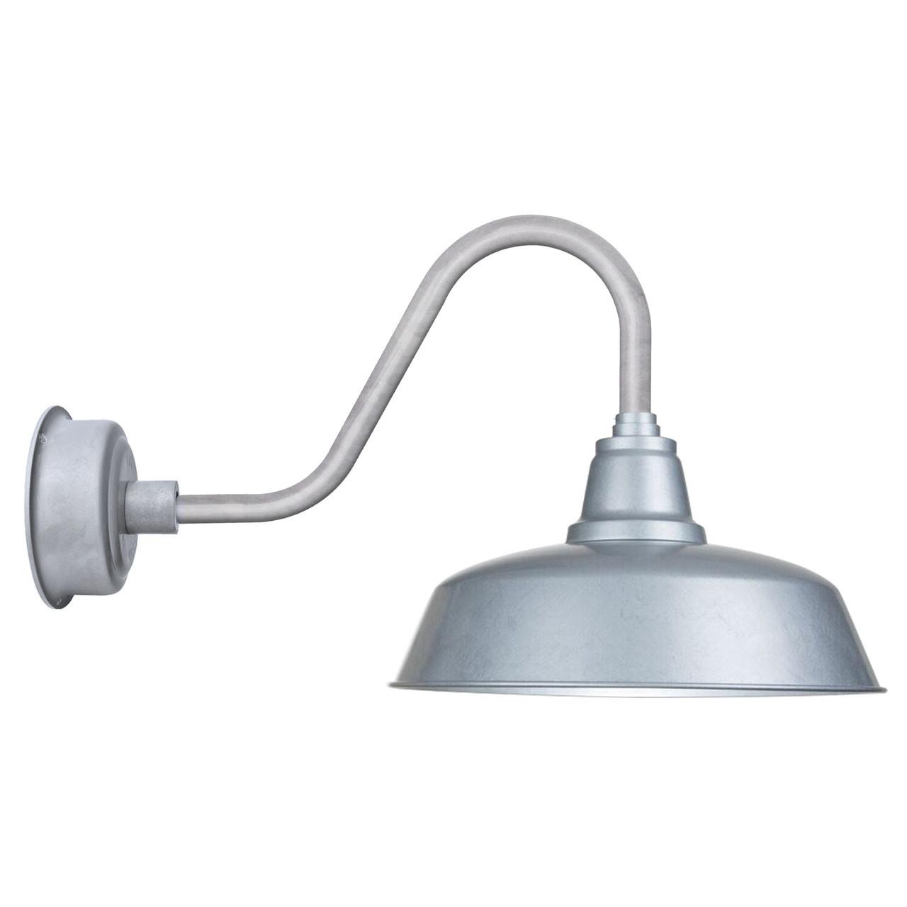 "Goodyear 1 Light Outdoor Barn Light: 14"" Rustic Goodyear LED Indoor/Outdoor Galvanized Silver"