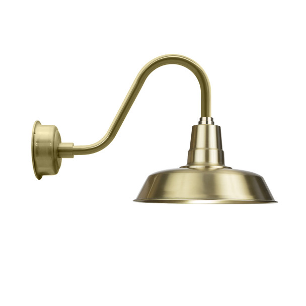 """14"""" Solid Brass with Rustic Gooseneck Arm LED Barn Light"""