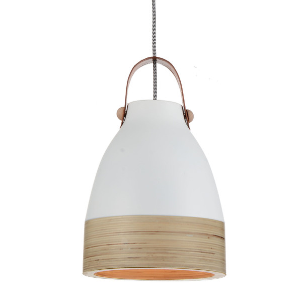 "9"" Norcia LED Pendant Light in White"