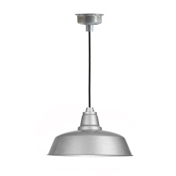 "10"" Goodyear LED Pendant Light in Galvanized Silver with Galvanized Silver Downrod"
