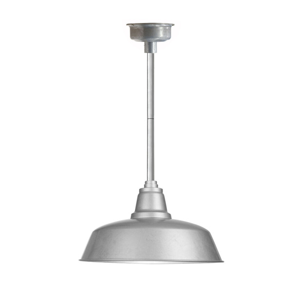 "16"" Goodyear LED Pendant Light in Galvanized Silver with Galvanized Silver Downrod"
