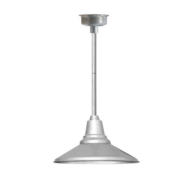 "14"" Calla LED Pendant Light in Galvanized Silver with Galvanized Silver Downrod"