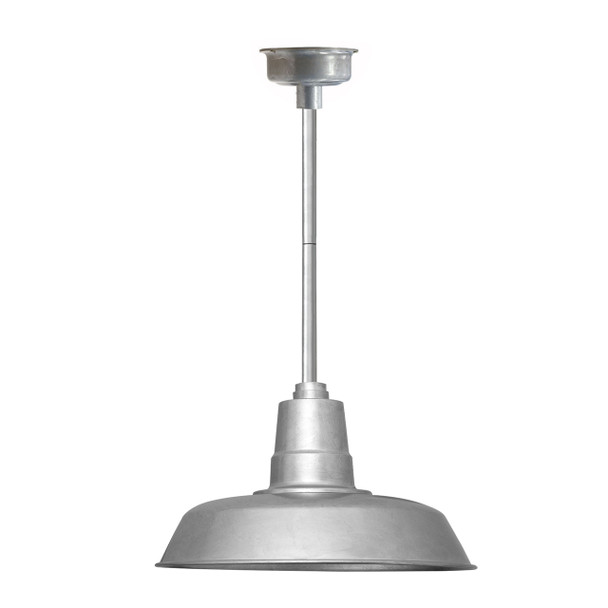 """14"""" Oldage LED Pendant Light in Galvanized Silver with Galvanized Silver Downrod"""