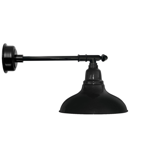 "12"" Dahlia LED Barn Light with Victorian Arm in Black"
