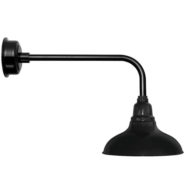 "12"" Dahlia LED Barn Light with Traditional Arm in Black"