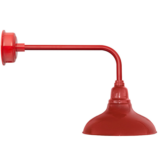 "12"" Dahlia LED Barn Light with Traditional Arm in Cherry Red"