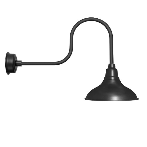 """12"""" Dahlia LED Barn Light with Industrial Arm in Matte Black"""