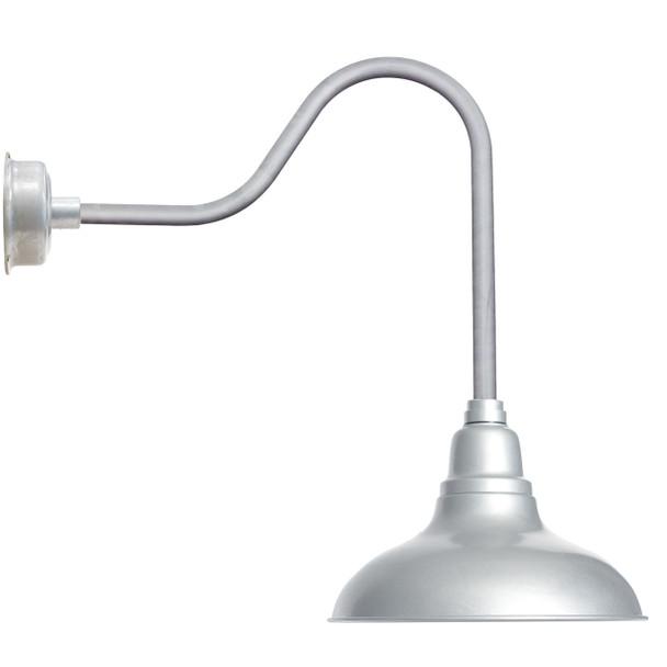 "12"" Dahlia LED Barn Light with Sleek Arm in Galvanized Silver"
