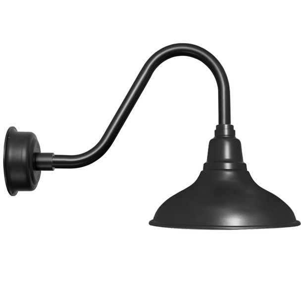 """8"""" Dahlia LED Barn Light with Rustic Arm in Matte Black"""