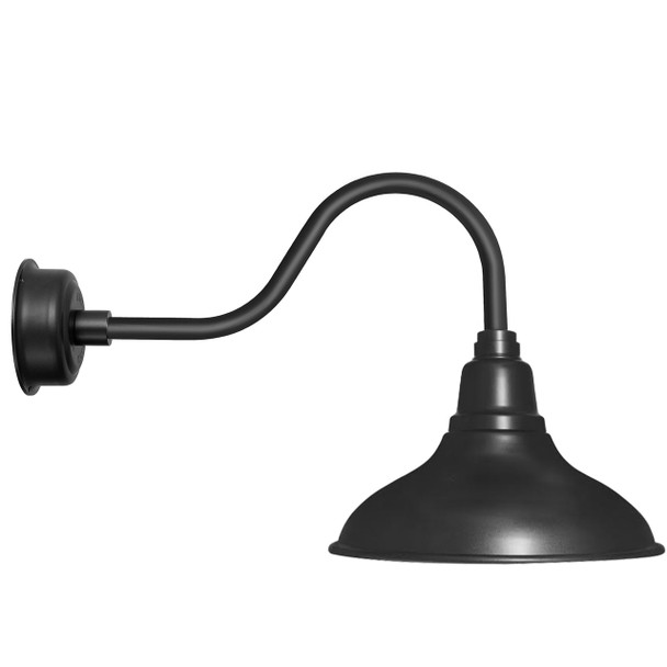 "8"" Dahlia LED Barn Light with Contemporary Arm in Matte Black"