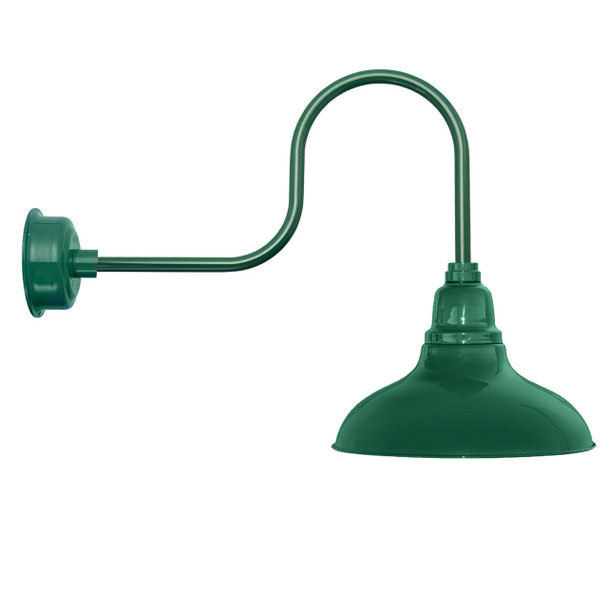 "12"" Dahlia LED Barn Light with Industrial Arm in Vintage Green"