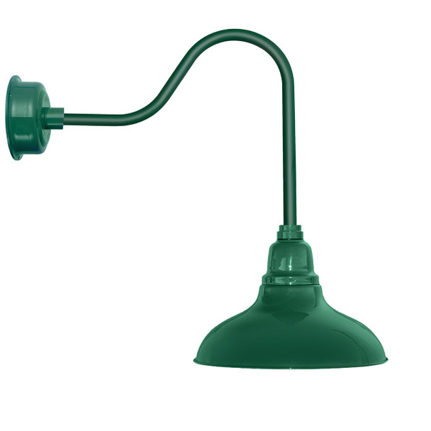 "8"" Dahlia LED Barn Light with Sleek Arm in Vintage Green"