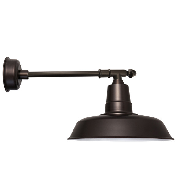 "14"" Oldage LED Barn Light with Victorian Arm - Mahogany Bronze"