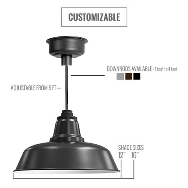 Custom Matte Black LED Pendant Light