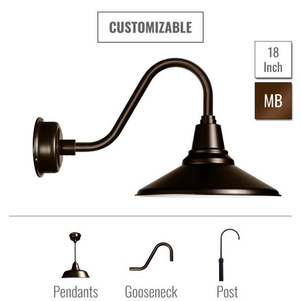 "Customizable 18"" Calla Barn Light in Mahogany Bronze (00BCA-18MB)"