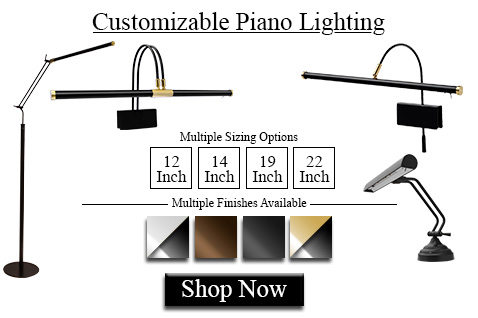 Cocoweb offers many finishes and sizes for all types of LED piano lamps