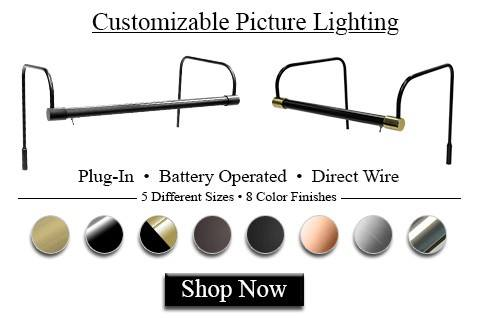 Choose many picture light options using cocoweb's customizable picture lights