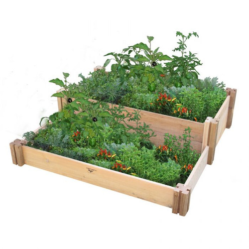 Multi-Level Rustic Raised Garden Bed 36x36x13