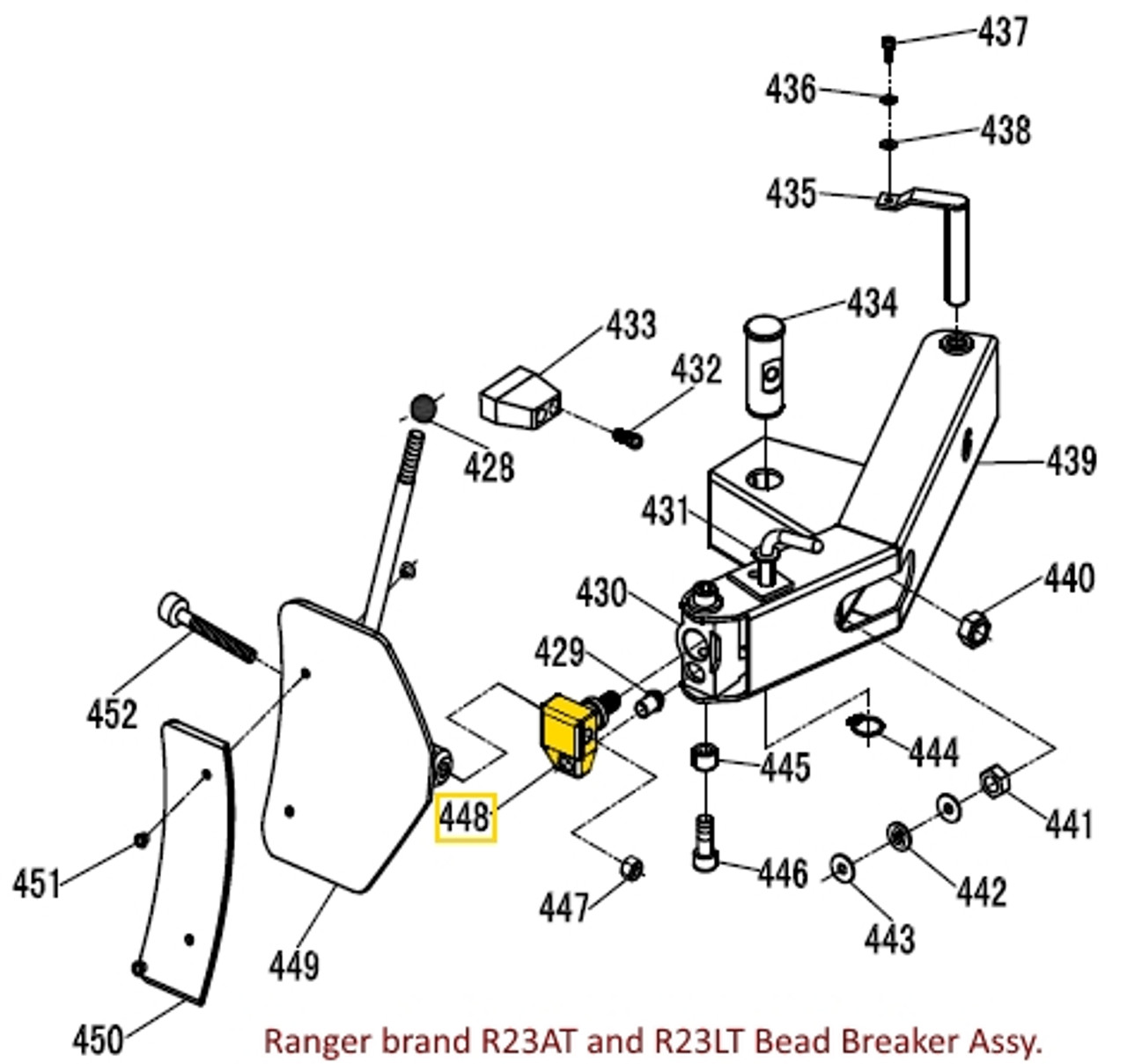 Illustration of 5327738 Bead Breaker Blade ADAPTER for Ranger R23AT and R23LT Tire Changers.