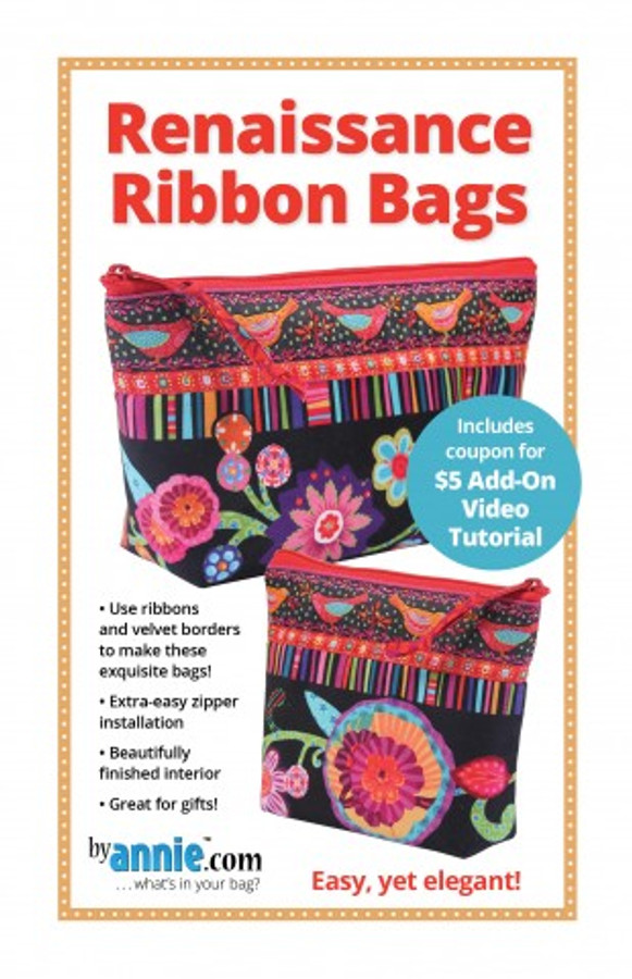 Add a little luxury to your daily routine! Use a variety of ribbons and borders to make these simple, quick bags into exquisite masterpieces. You'll love the extra-easy zipper installation and beautifully finished interior - no unfinished seams! Flat-bottomed zippered pouches in two sizes stand up and open wide to keep all your essentials in one place. Soft and Stable provides stability and gentle protection for contents. Perfect for travel or everyday use and great gifts, too!