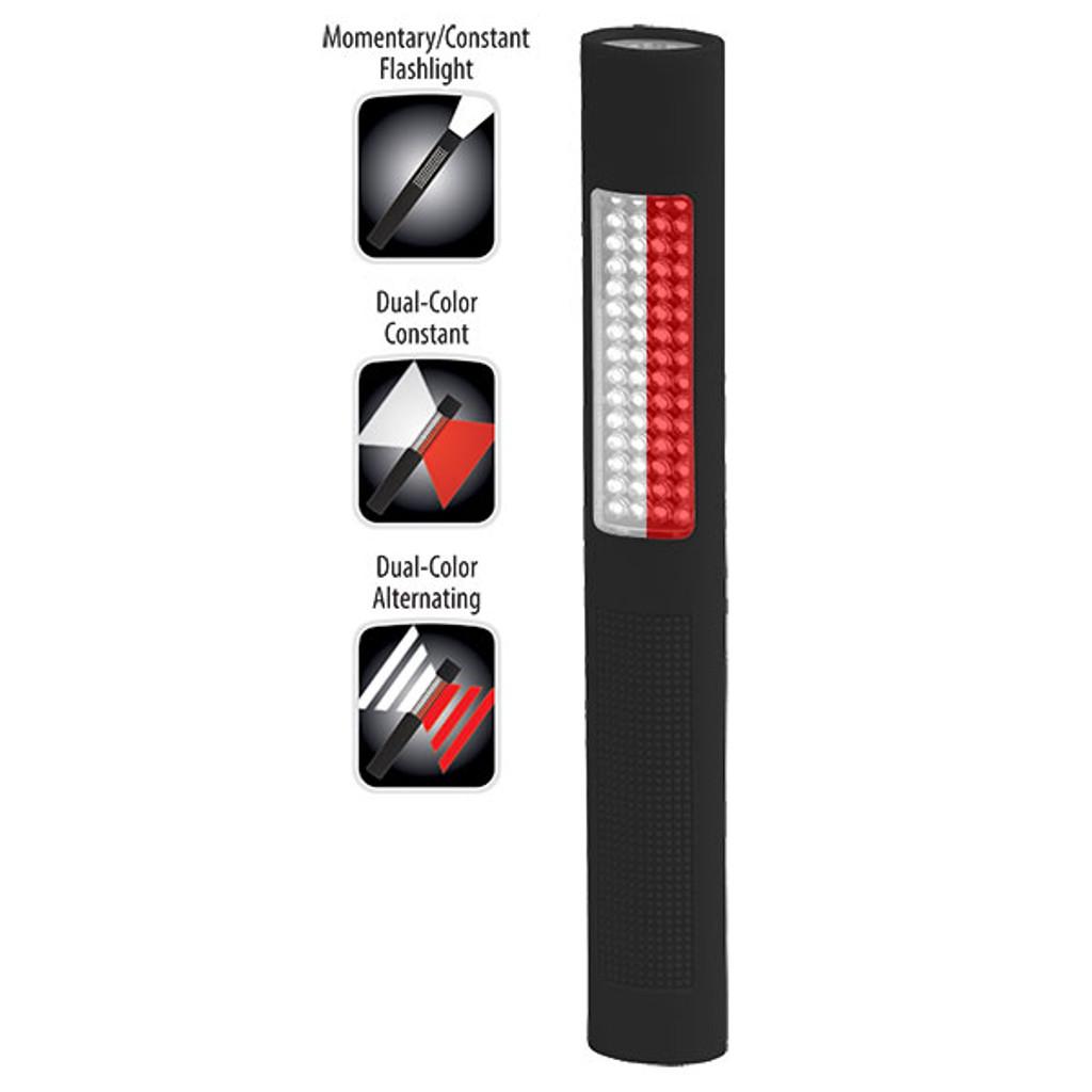 Bayco #NSP-1172 LED Alternating Red-White Floodlight and White Flashlight
