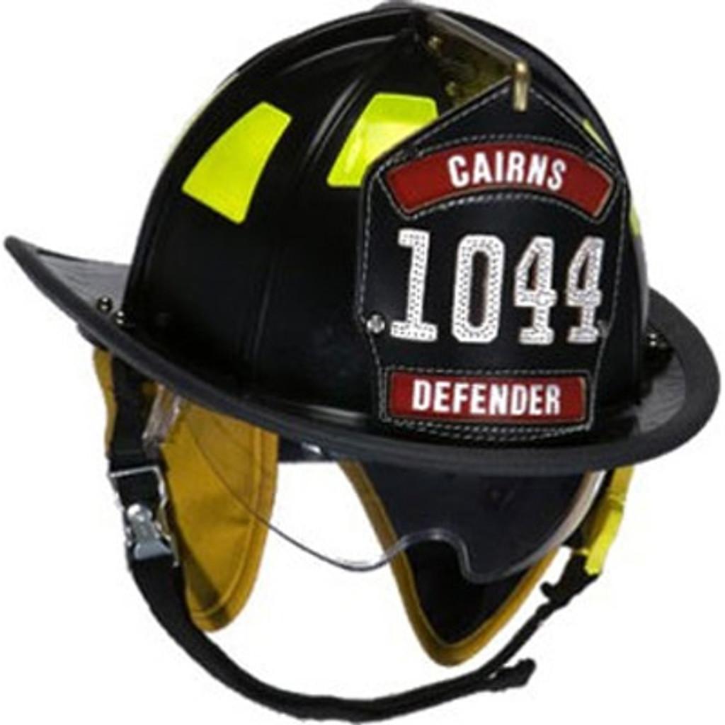 """Cairns #1044DS-B Black 1044 Traditional Helmet W/ Defender Lens, Standard Liner, and 6"""" Silk Eagle"""