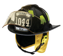 "Cairns #1044FS-B Black 1044 Traditional Helmet W/ 4"" Tuffshield Faceshield, Standard Liner, and 6"" Silk Eagle"