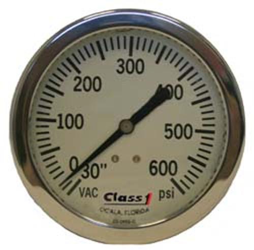 """Class 1 #91663964 6.0"""" Liquid Filled White Face Pump Panel Gauge - (-30-600)"""