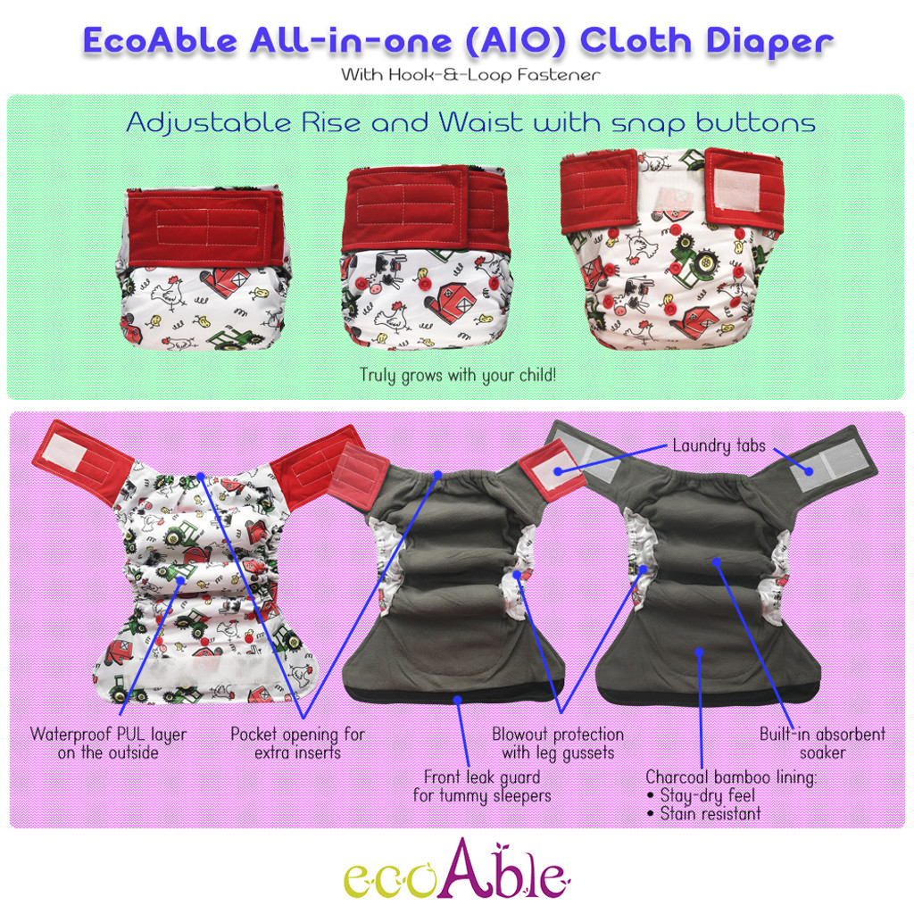 6-pack All-in-one Cloth Diapers with Hook-&-Loop