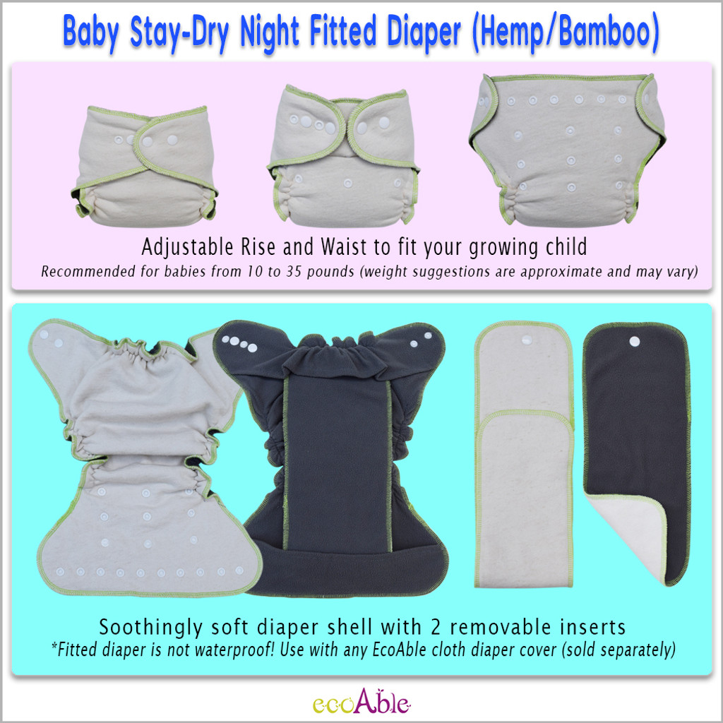 Stay-Dry Hemp Night Fitted Cloth Diaper, One Size