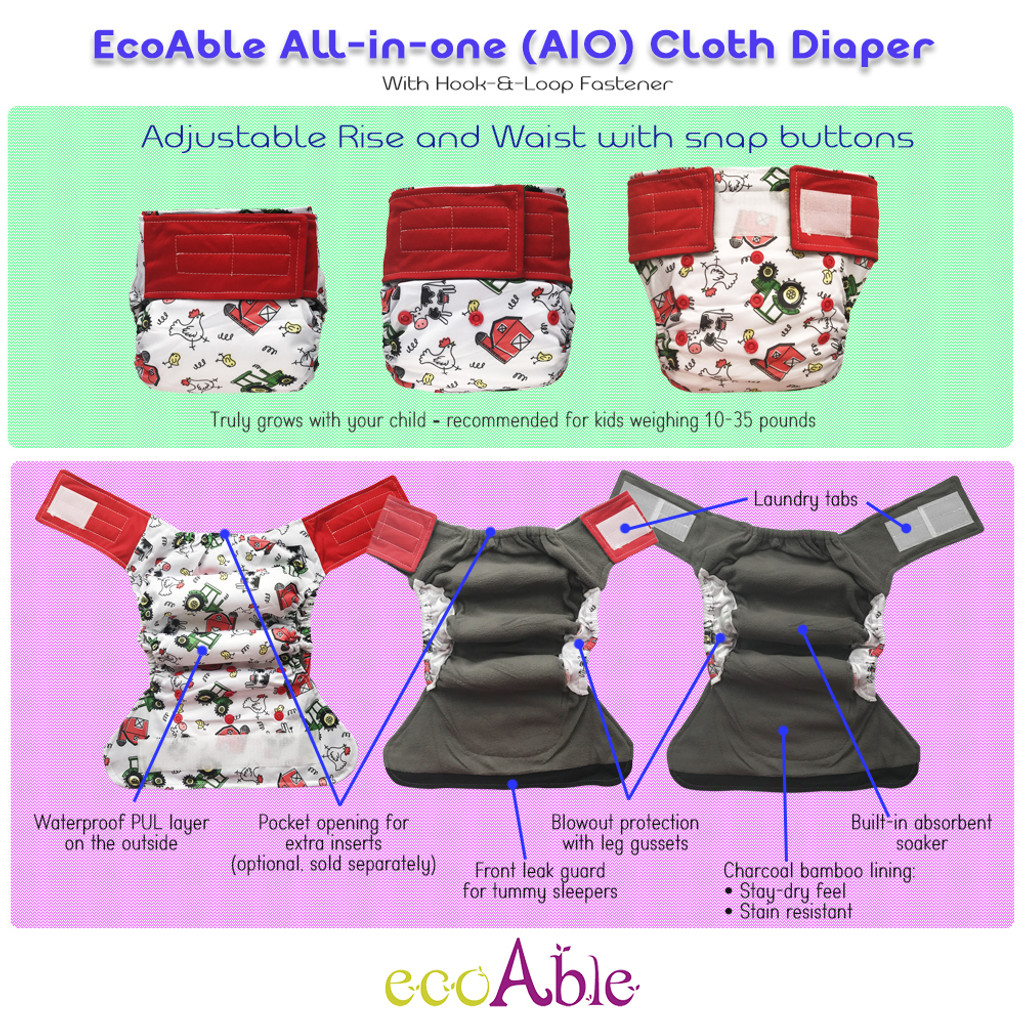 One Size All-in-one Cloth Diaper with Hook-&-Loop