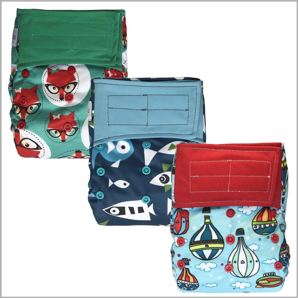 One Size Waterproof PUL Cloth Diaper Cover, Hook & Loop
