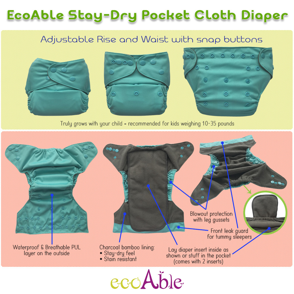 One Size Pocket Cloth Diaper with Inserts