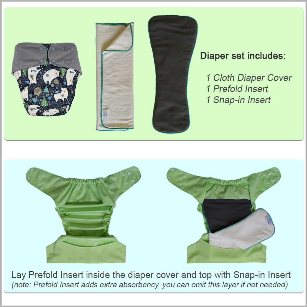 Youth / Teen / Adult Diaper Cover with Prefold and Insert
