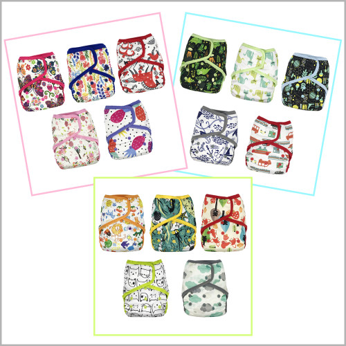 5-Pack Cloth Diaper Covers with Hook-&-Loop