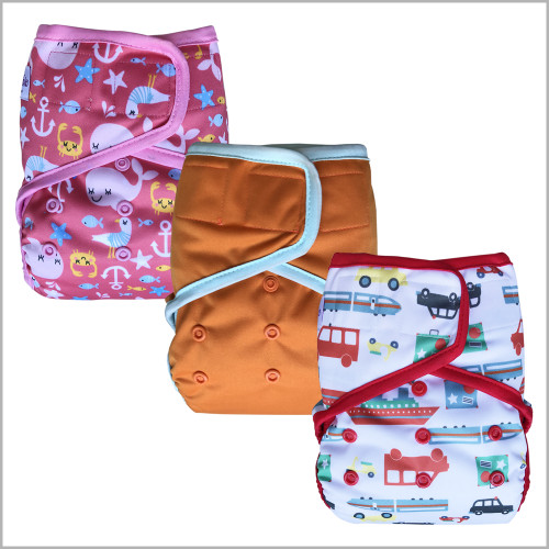 Waterproof PUL Cloth Diaper Cover, Hook & Loop