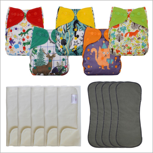 15 Pcs Set Diaper Covers with Prefolds and Inserts, One Size