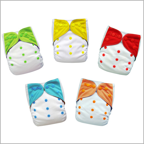 5-Pack All-in-one Cloth Diapers with Extra Inserts, Snaps
