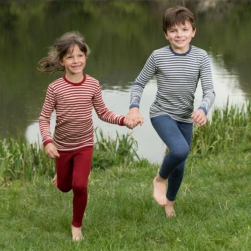 Kids Leggings Pants Base Layer, 100% Organic Wool, 2-13 Years
