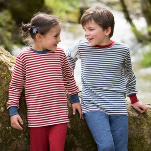 Kids Long Sleeve Thermal Shirt, 100% Organic Wool, 2-8 Years