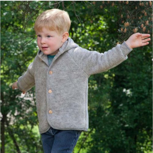 Baby Ultra Warm Jacket Cardigan with Hood, 100% Organic Wool Fleece, 0-24 Months