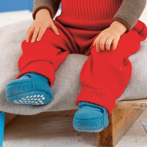 Baby Toddler House Shoes Booties Socks with Grips, 100% Merino Wool Knit, 4-12 months
